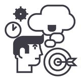 Business idea,brainstorm,target goal, time, thinking man vector line icon, sign, illustration on background, editable. Business idea,brainstorm,target goal, time Royalty Free Stock Images