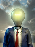 Business idea. Businessman with his head replaced by a big light bulb. Digital illustration Royalty Free Stock Photography