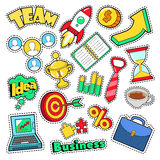 Business Idea Comic Stickers, Patches, Badges with Laptop and Financial Elements. Vector Doodle Stock Images