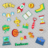 Business Idea Comic Stickers, Patches, Badges with Laptop and Financial Elements. Vector Doodle Stock Photo