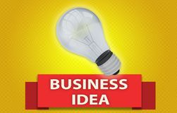 BUSINESS IDEA concept with banner and light bulb. Colorful BUSINESS IDEA concept with red text banner and 3d rendered domestic light bulb, isolated with a glow Stock Images