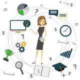 Business idea concept, business woman and business objects Stock Image
