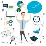 Business idea concept, businessman. Or office worker and business objects, vector illustration Stock Image