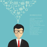 Business idea concept. Businessman with interface icons over his head. Flat  illustration Stock Image