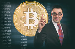 Business Idea concept. Currency Exchange Rate. Bitcoin. Electronic money Stock Photography