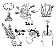 Business Idea concept doodles icons set sketch. Business Idea concept high detailed doodles icons set sketch Vector illustration hand drawn background Stock Photo