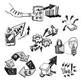 Business Idea concept doodles icons set sketch. Business Idea concept high detailed doodles icons set sketch Vector illustration hand drawn background Royalty Free Stock Photography