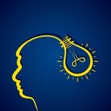 Business idea concept with head and light bulb Stock Photos