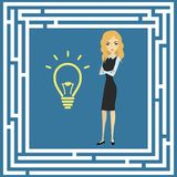 Business idea concept, labyrinth and a businesswoman Stock Photo