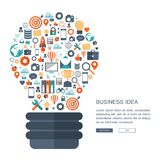 Business idea concept. Light bulb with business icons pattern. Flat vector. Illustration Stock Image