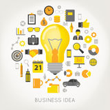 Business Idea Concept Light Bulb and Creative Icons Set. Vector illustration Royalty Free Stock Images