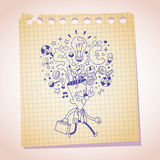 Business idea concept note paper cartoon sketch Royalty Free Stock Images