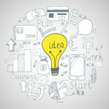 Business idea concept with sketch icons set. Vector illustration Royalty Free Stock Photos