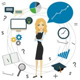 Business idea concept, business woman and business objects Royalty Free Stock Photography