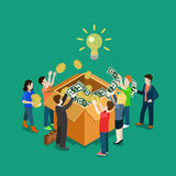 Business idea crowdfunding volunteer concept flat 3d web isometric. Infographic vector. Group of people putting money to box. Crowd funding process illustration Royalty Free Stock Photos