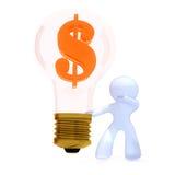 Business idea with dollar sign. Bulb representing million dollar idea. Red dollar stock illustration