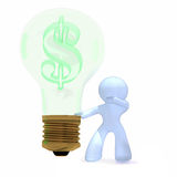 Business idea with dollar sign. Bulb representing million dollar idea. Green dollar. Concept image  isolated on white  background Stock Photos