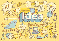 Business Idea doodles icon set sketch Vector drawn. Business Idea doodles icons set sketch Vector illustration hand drawn background Stock Photography