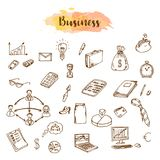 Business Idea doodles icons set. Vector illustration. Business Idea doodles icons set. Finance, payments and cash sketch. Vector illustration Stock Images