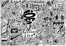 Business Idea high detailed doodles icons sketch Royalty Free Stock Image