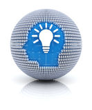 Business idea icon on globe formed by dollar signs. 3d render Royalty Free Stock Photo