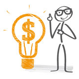 Business idea illustration. Stickman pointed at lightbulb with dollar sign Stock Photos