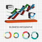 Business idea infographic with icons and charts, flat design. Digital vector image Stock Images