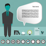 Business idea infographic with icons, person, coffee, folders and papers, flat design Royalty Free Stock Images