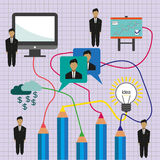 Business idea infographic with icons, persons, computer, pencil and badge, flat design. Digital vector image Stock Photo