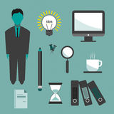 Business idea infographic with icons, persons, computer, pencil and badge, flat design. Digital vector image Stock Images