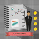 Business idea infographic with icons, persons, money, charts and papers, flat design. Digital vector image Royalty Free Stock Photography