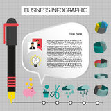 Business idea infographic with icons, persons and pencils, flat design. Digital vector image Royalty Free Stock Images