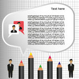 Business idea infographic with icons, persons and pencils, flat design. Digital vector image Royalty Free Stock Photo