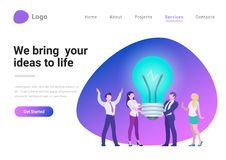 Business Idea Innovation Flat vector illustration. Business Idea Innovation Flat style vector illustration landing page banner. Team bring your business ideas to vector illustration