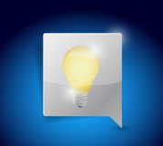 Business idea light bulb on a message bubble. Stock Photos