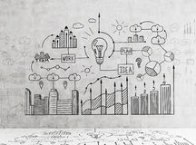 Business idea sketch on wall and floor Royalty Free Stock Images