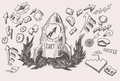 Business Idea start up concept doodles icons set Royalty Free Stock Image
