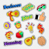 Business Idea Stickers Set. Badges and Patches with Finance Elements. Vector illustration Stock Photos