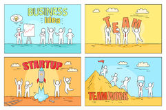 Business Idea and Teamwork on Startup Illustration Stock Photo