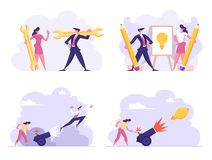 Business Idea, Technical Support, Start Up Concept Set. Woman Set on Fire Cannon with Businessman Flying Up. Career stock illustration