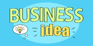 Business Idea Title on Vector Illustration Blue. Business idea title of yellow color written in circle and icon of electric bulb as a sign of discovery and Royalty Free Stock Images