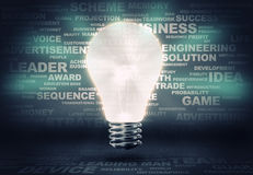 Business ideas. Background image with light bulb and words at background Stock Photos