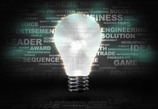 Business ideas. Background image with light bulb and words at background Royalty Free Stock Images