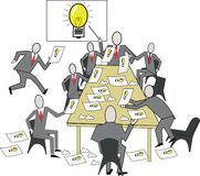 Business ideas cartoon. Cartoon of business meeting with team producing ideas during discussion Royalty Free Stock Images