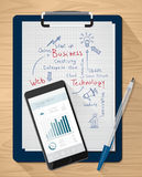 Business ideas. Clipboard with handwritten notes and mobile with financial app Royalty Free Stock Image