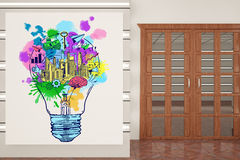 Business ideas concept. Creative interior with wooden doors and creative sketch inside light bulb on whiteboard. Business ideas concept. 3D Rendering Stock Images