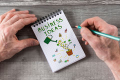 Business ideas concept on a notepad. Business ideas concept drawn on a notepad Stock Image
