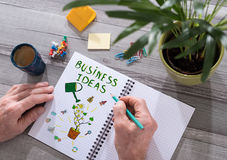 Business ideas concept on a notepad. Business ideas concept drawn on a notepad placed on a desk Stock Photo