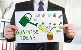 Business ideas concept shown by a businessman. Paper showing business ideas concept held by a businessman Stock Photos