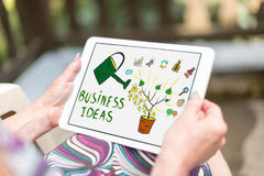 Business ideas concept on a tablet. Business ideas concept shown on a tablet held by a woman Royalty Free Stock Photo